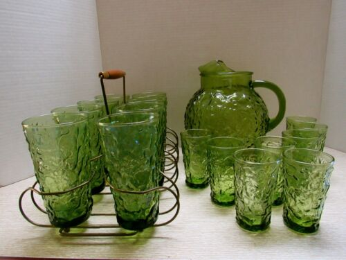 VINTAGE ANCHOR HOCKING LIDO / MILANO PITCHER &16 GLASSES / TUMBLERS..AVACAD0
