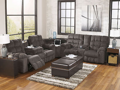 Modern Living Family Room Gray Chenille Reclining Sofa Couch Sectional Set IF1X