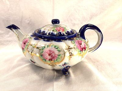 19th C Nippon Melon Shaped Footed Porcelain Tea Pot Cobalt & Hand Painted Roses