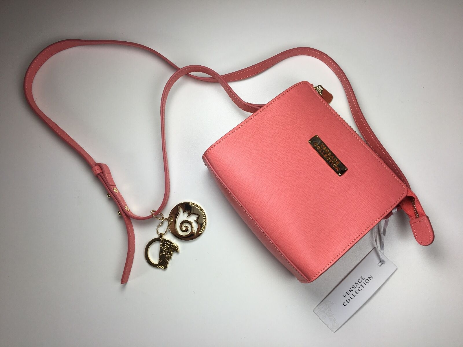 5953f7459a8e Authentic Versace Collection Saffiano Leather Small Crossbody Bag Coral фото