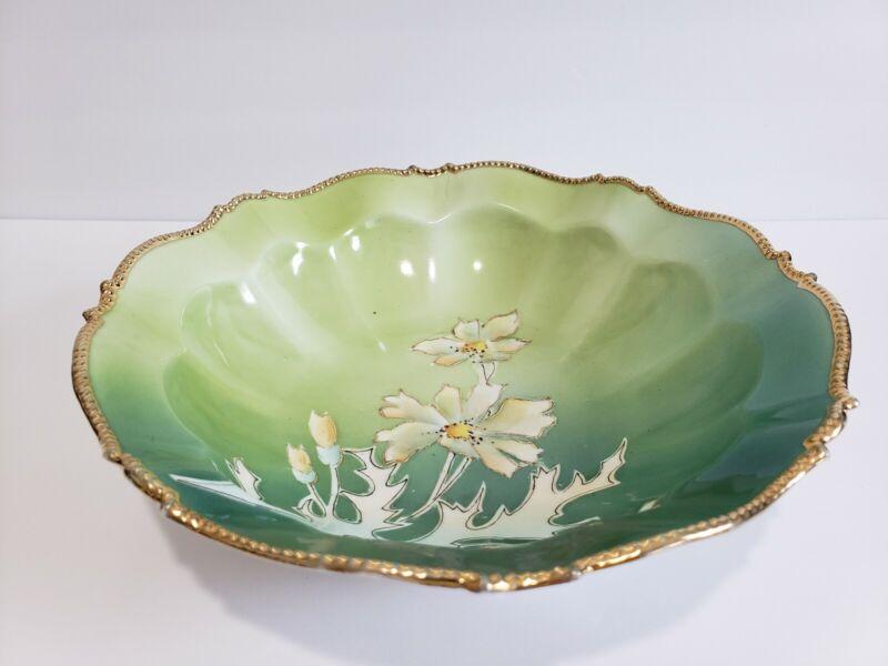 "Green Porcelain Antique Bowl Flower PRICKLE POPPY? Gold Rim 10"" Prussia? *Read"