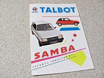 1980's TALBOT SAMBA (FRANCE) SALES BROCHURE...