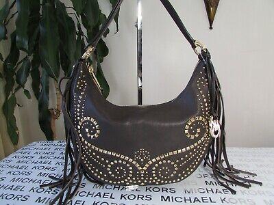 NWT Michael Kors Leather Rhea Studded SM Slouchy Shoulder Bag Hobo DK (Michael Kors Chocolate)