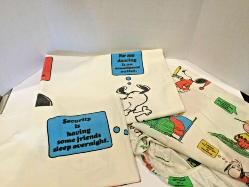 Vintage Peanuts Snoopy Charlie Brown  3 piece Twin Sheet Set 1971 Bubble