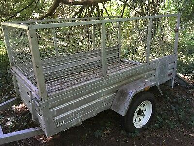 7' x 4' GALVANISED TRAILER WITH MESH SIDES