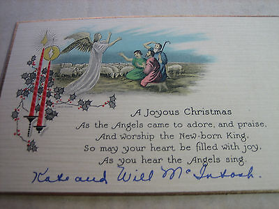Vtg. 1930's ART DECO Shepherds Angel STAR Christmas Card USED