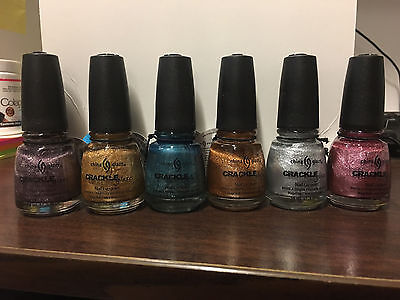 6  China Glaze Crackle Nail Lacquer Polish Gold Platinum Lilac Aqua Haute