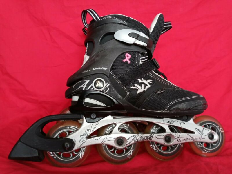 Alexis K2 Women 8 Black Breast Cancer Awareness Ribbon Rollerblades Skates