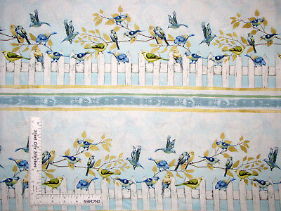 Bird Fence Border Stripe Gold Cotton Fabric Timeless Treasures C5623 By The Yard