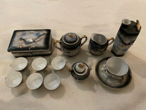 Vintage Dragon Ware Moriage Hand Painted Tea + Sake Set made in Japan Endo China