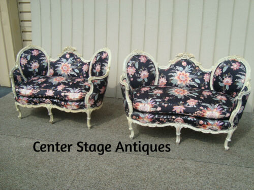 60389 Pair DECORATOR French carved Loveseats Sofa w/ BIRD figures