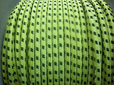 7MM IGNITION LEAD WIRE COPPER CORE HT BRAIDED COTTON BLACK ON YELLOW 1 METER