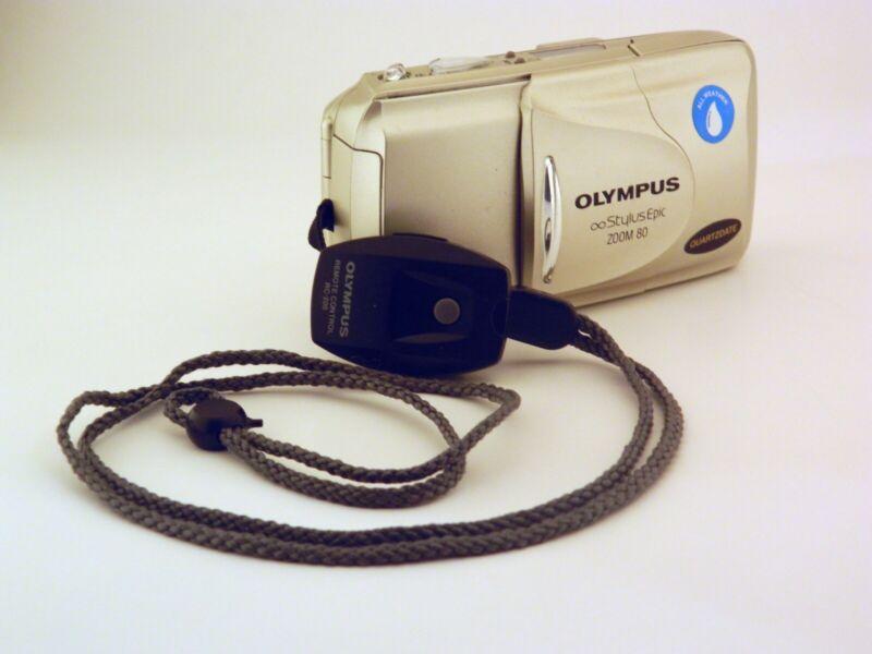 Olympus Stylus Epic Zoom 80 Point & Shoot Film Camera w/ film, battery & Remote