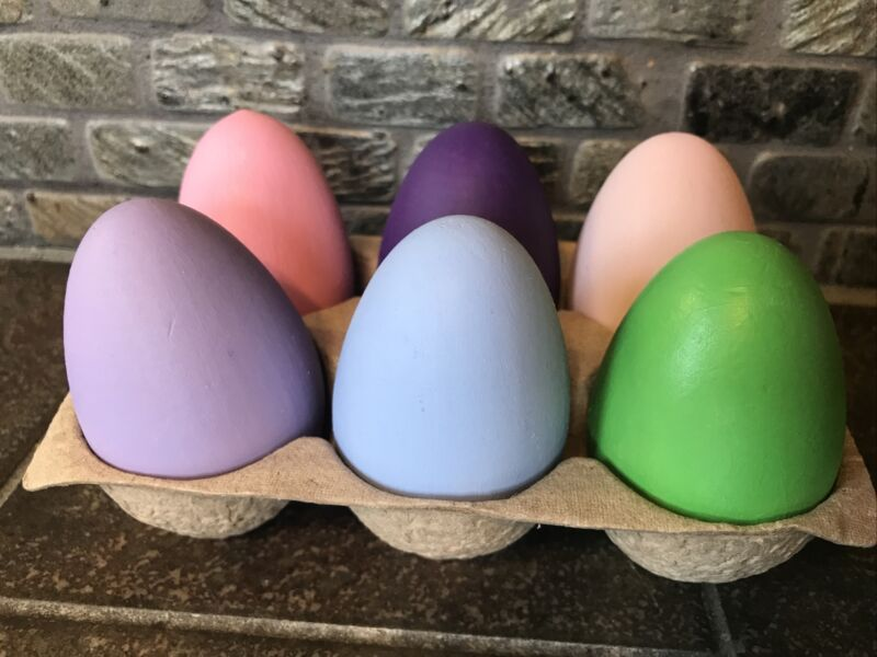 Six Wooden Painted/Waxed Easter Eggs In Cardboard Carton-4307