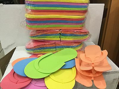12 , 24 Pairs Disposable Foam pedicure Spa Flip Flop Slipper 6 Assorted color