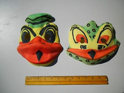 Two Vintage 1940's Cloth Halloween Masks Donald Duck and Frog NEW OLD STOCK