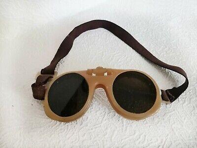 Vintage Safety Goggles Steampunk Welding Worker Industrial Old Glasses Flip Up