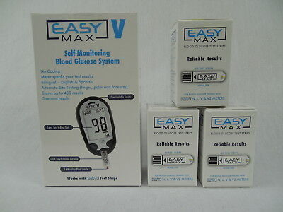 EASY MAX V TALKING Diabetic Glucose Meter and 3 box Easymax 50ct Strips 150ct.