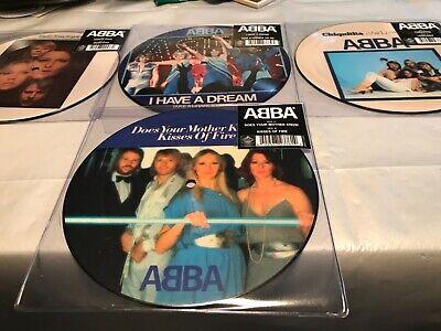 ABBA x 4 7 INCH Singles picture discs Mint unplayed Voulez-Vous, Chiquitita  etc