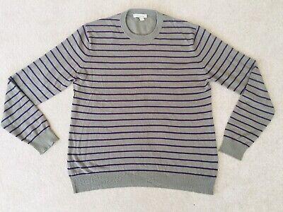 Kinross Cashmere Men's Crew Neck Jumper grey purple stripe Large damaged I15