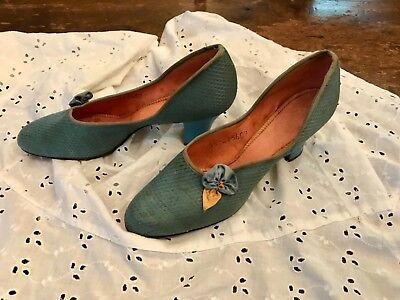1920's 30's sweet Blue Flapper Dance Shoes Slippers 5 - 1920s Shoes Flapper