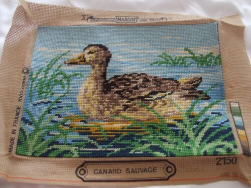 Duck Featured On Vintage Needlepoint Piece