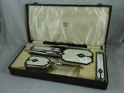 BOXED sterling silver & ENAMEL, DRESSING TABLE SET , 1932