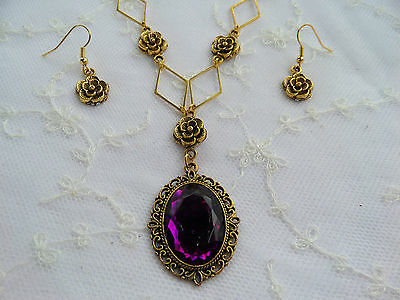 VICTORIAN STYLE- DIAMOND ROSE - DEEP PURPLE AC CRYSTAL GOLD PLATED NECKLACE SET
