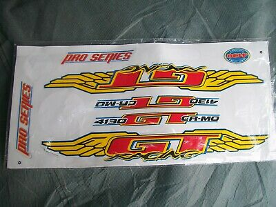 FREE SHIPPING Set of GT 4130 CR-MO BUTTED WINGS Decals//bmx//Red Yellow Blue