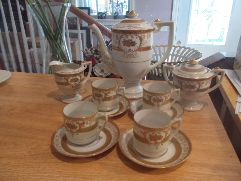 11 Piece Antique Gold & White Coffee Tea Set-Moriage  Made in Japan