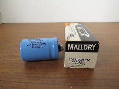 Mallory Cg332u025r2c Capacitor 3300 Mfd 25 Vdc