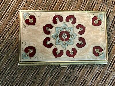 Brass Metal Business Card Holder With Crystals In Offwhite With Red Blue Inlay