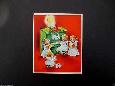 Vintage Unused Suzanne Xmas Greeting Card Angels Playing Piano & Singing