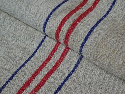 Antique European Feed Sack GRAIN SACK Red & Blue Stripe # 9517