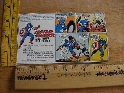 Captain America Marvel Secret Wars card action figure backing cut out 1984 ()