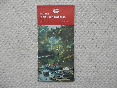 ESSO Road Map of WALES and the MIDLANDS number 4 dated 1963 new old stock