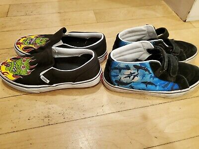 LOT OF 2 PAIRS BOYS VANS SLIP ON SHOES AND ANKLE SNEAKERS EUC, SIZE 4-4.5 YOUTH