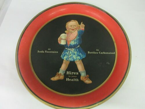 AUTHENTIC HIRES ROOT BEER ROUND ADVERTISING SERVING TIN TRAY   6050