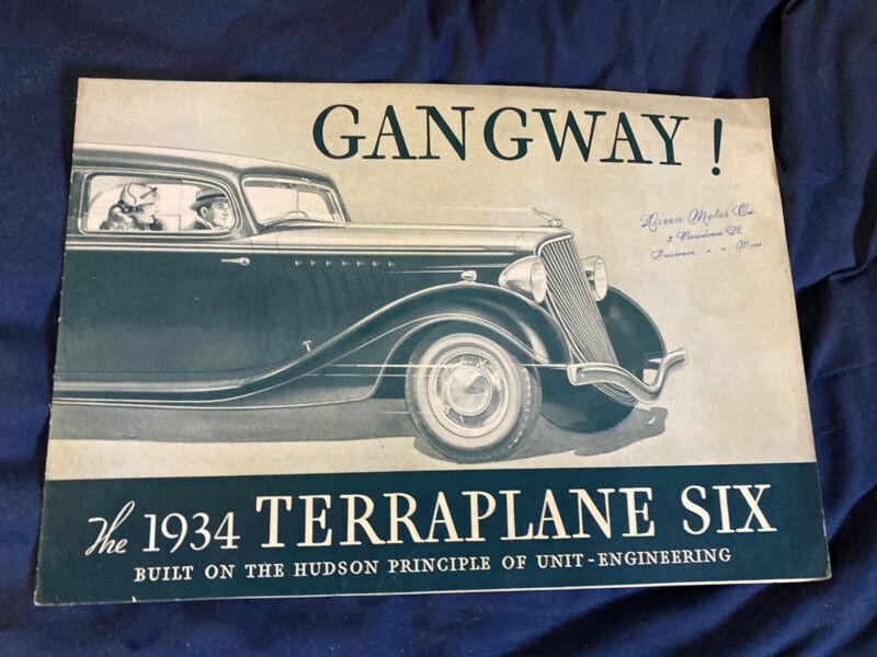 1934 Hudson Terraplane Full Line Large Brochure Catalog Prospekt