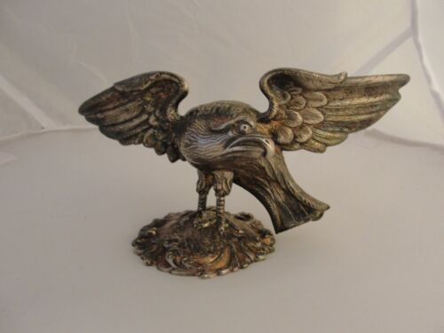 ANTIQUE LARGE SILVER PLATE EAGLE FIGURAL HANDLE FINIAL TUREEN COVER SERVING DISH