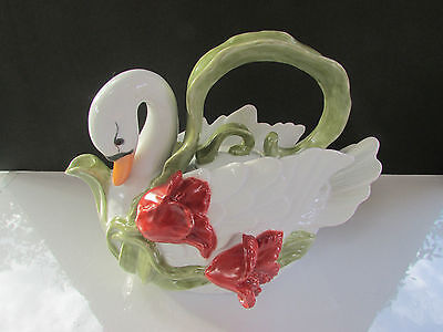 White Ceramic Porcelain Swan Teapot Beautiful Hand Painted Artist Signed