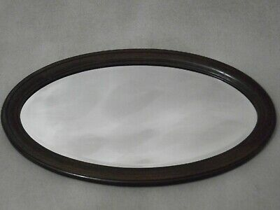 VINTAGE LARGE OVAL MAHOGANY BEVELLED EDGED MIRROR 74 CM X 43 CM - LIGHTWATER