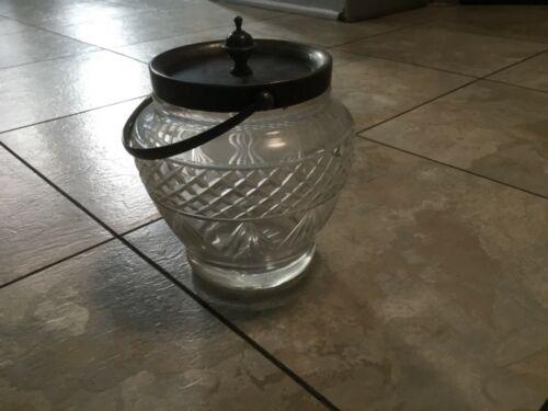ANTIQUE BISCUIT JAR * DANIEL & ARTER epns * SILVER PLATE & CUT GLASS