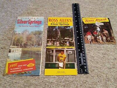 3 vintage Silver Springs Florida Travel Brochures - Ross Allen Tommy Bartlett