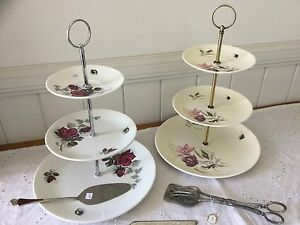 Vintage Three Tier Cake Stand (Staffordshire and Alfred Meakin) Nundah Brisbane North East Preview