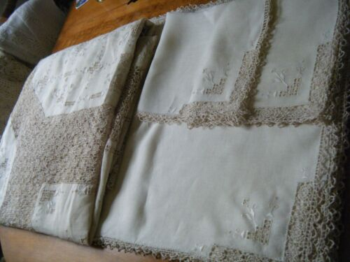 Tablecloth banquet linen hand reticella lace lavishly emb/erd 12 napkins Italy