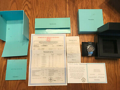 Tiffany & Co Stainless Mark T-57 Chronograph Watch COSC Manual Docs Receipt Box
