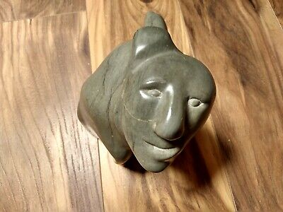 Vintage Eskimo Art Soapstone Carving Signed Igloo Sculpture 1973 Abstract unique