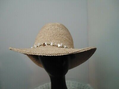 Zara Women's Wide Brim Panama Sun Hat with Shells Size S