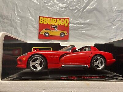 BURAGO, 1992 DODGE VIPER RT/10 1/18 Red Code 3025 with catalog